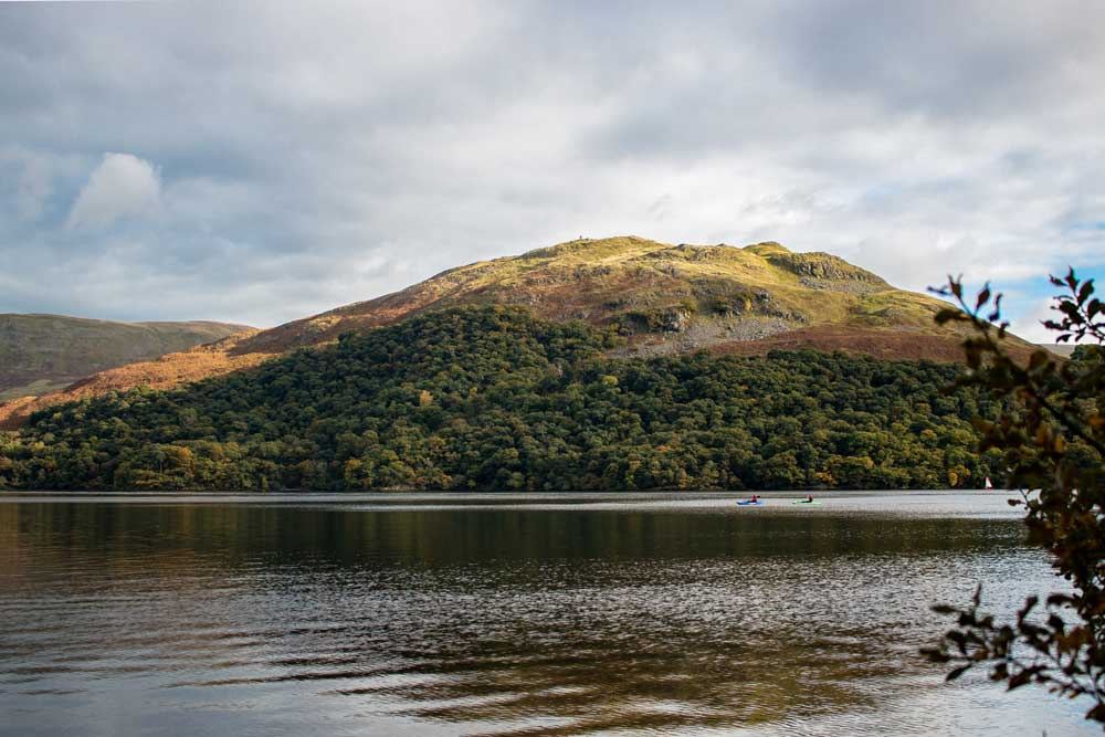 Kayakers on Ullswater in autumn