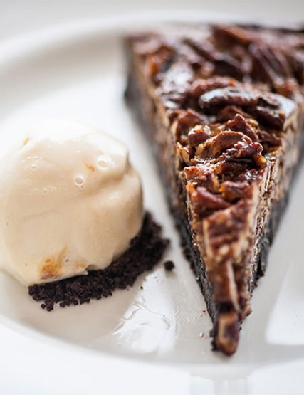 Chocolate and pecan pie with malted milk ice cream in the restaurant at Another Place