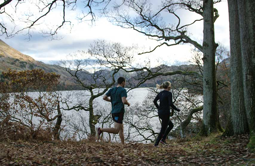Trail running on the shores of Ullswater in the Lake District