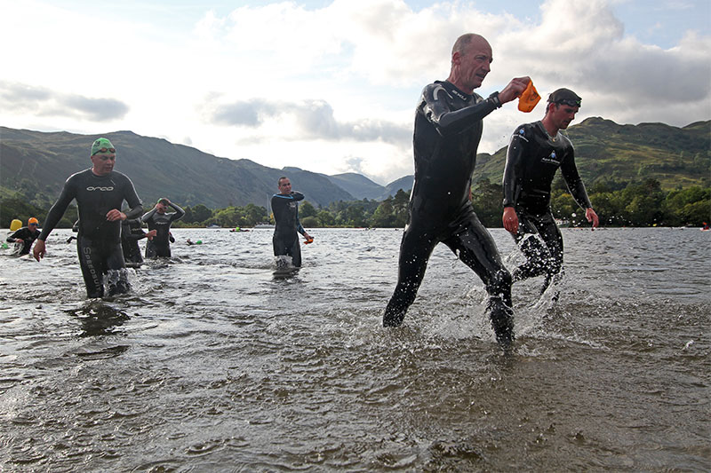 Helvellyn triathletes emerge from Ullswater's icy waters