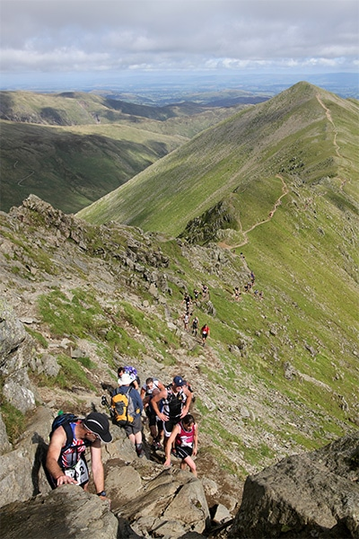 The walk along Swirral Edge to the top of Helvellyn in the Lake District