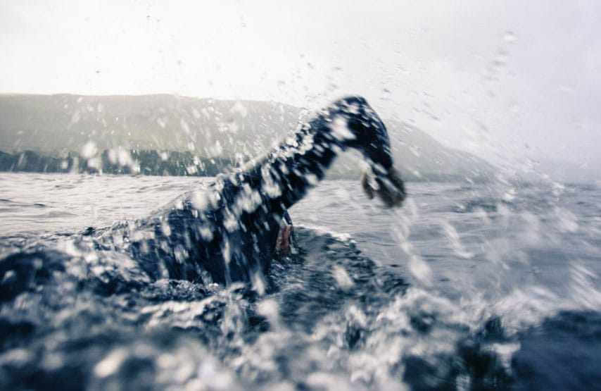 Close up of a swimmer in Ullswater