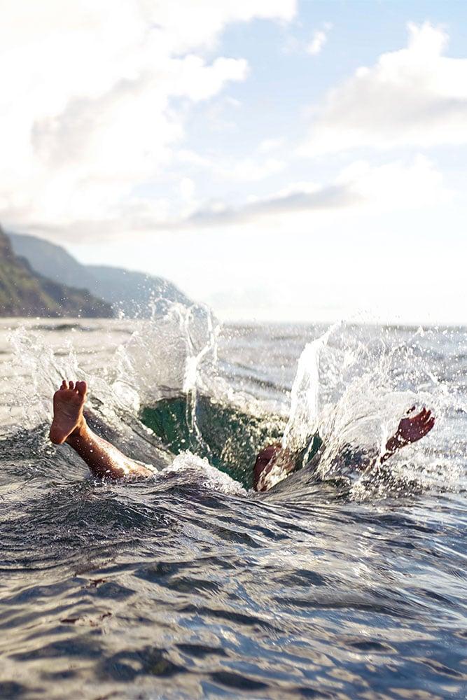 Splashing around in Ullswater in the Lake District