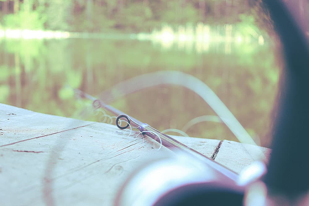 Close up of a fishing rod by the lake