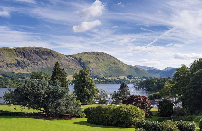 panorama of ullswater lake from the another place hotel