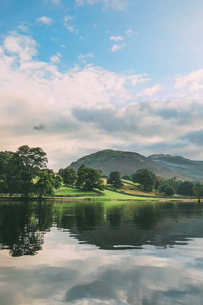 View of the fells from the water