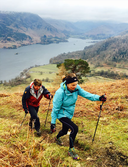 Walkers on the fells above Ullswater