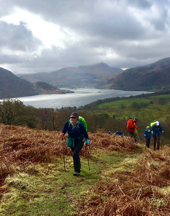 Walkers on the trails above Ullswater
