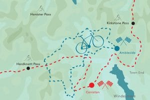 Cycling routes and climbs in the Lake District