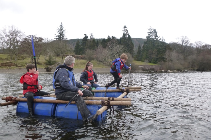 Raft building on Ullswater