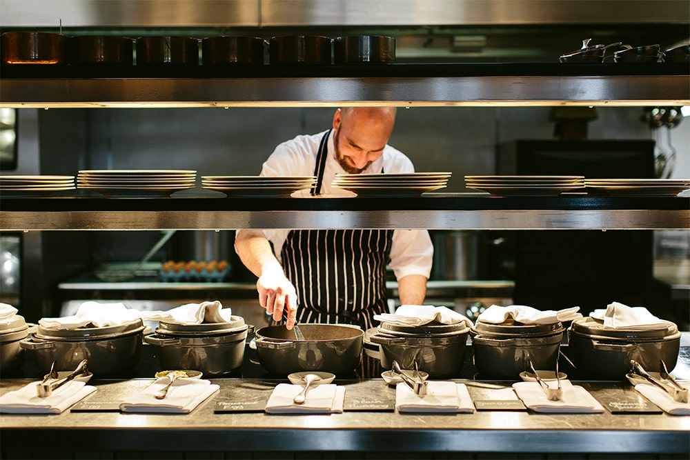 Chef at the pass in Rampsbeck Restaurant