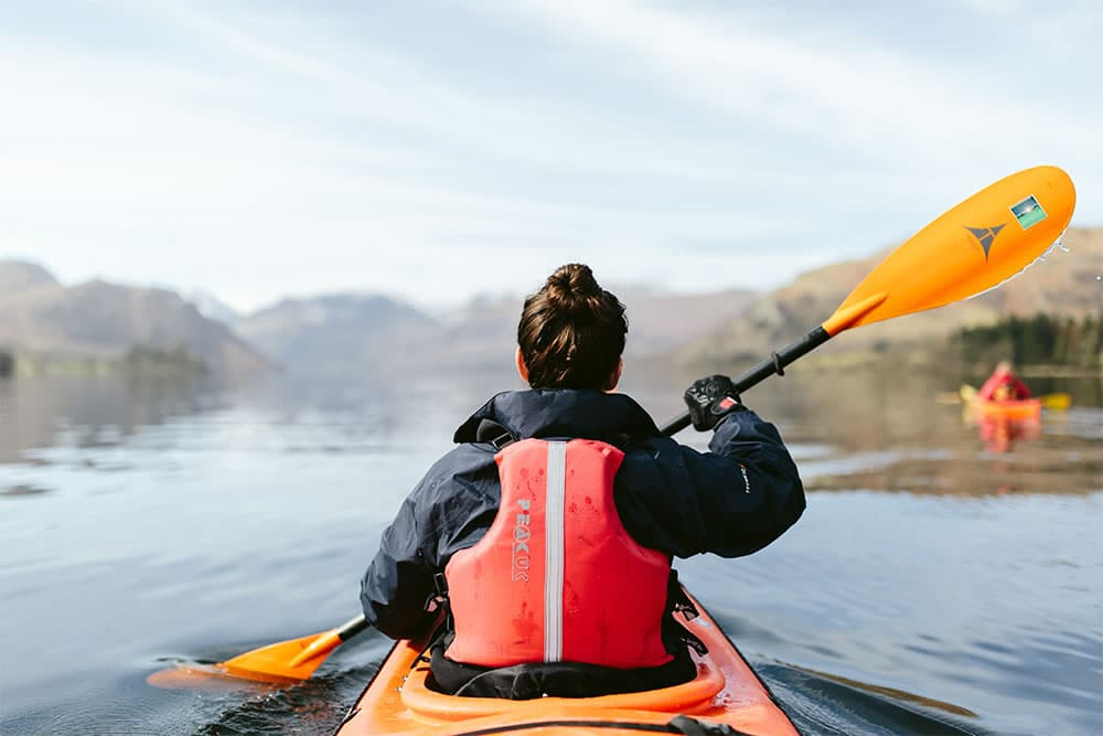 Woman kayaking on Ullswater