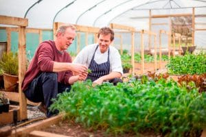 Head gardener Colin Myers with chef Richard Swale