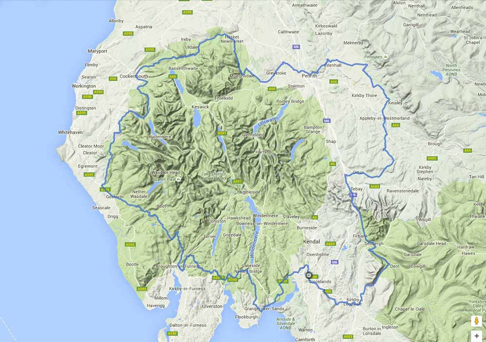Map of the Lakes & Dales Loop