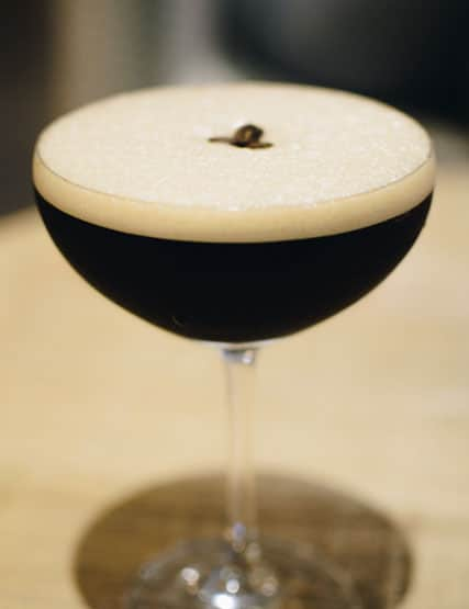 An espresso martini cocktail in The Living Space