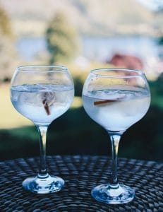 Share one of our specialist gins on the Living Space terrace