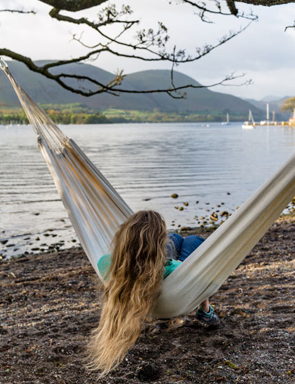 Relaxing in a hammock on the shores of Ullswater
