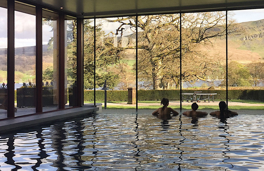 The view over Ullswater from the pool