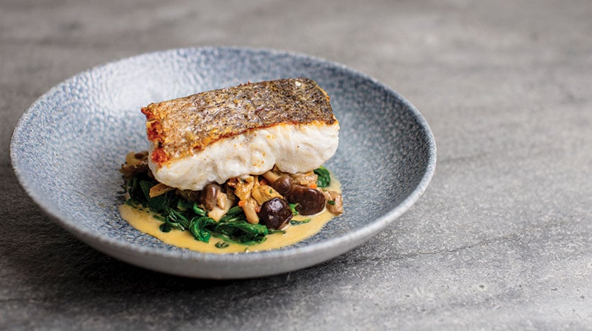 Hake on mushroom fricasse from the dinner menu