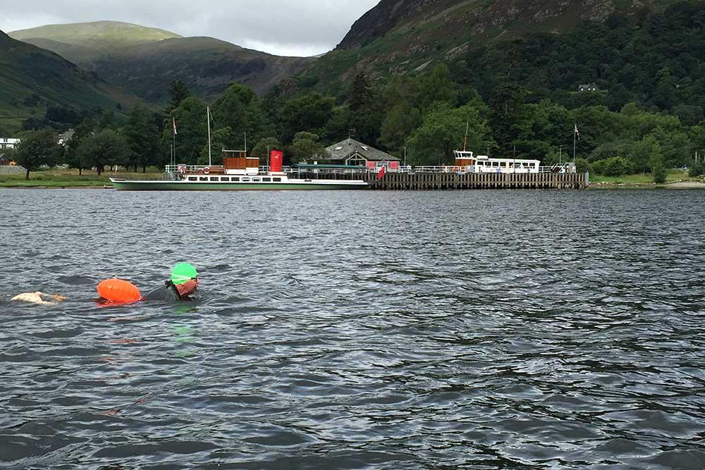 John Mather begins swimming Ullswater