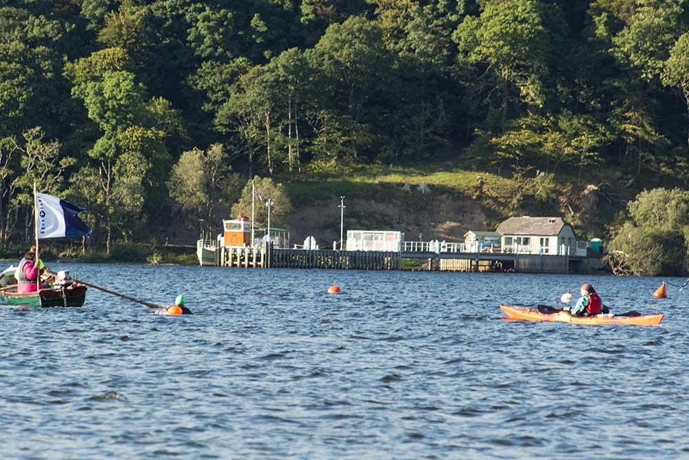 John Mather finishes swimming Ullswater