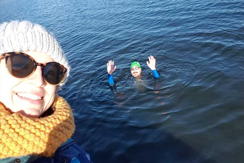Alex Lester completes the seven mile swim for charity