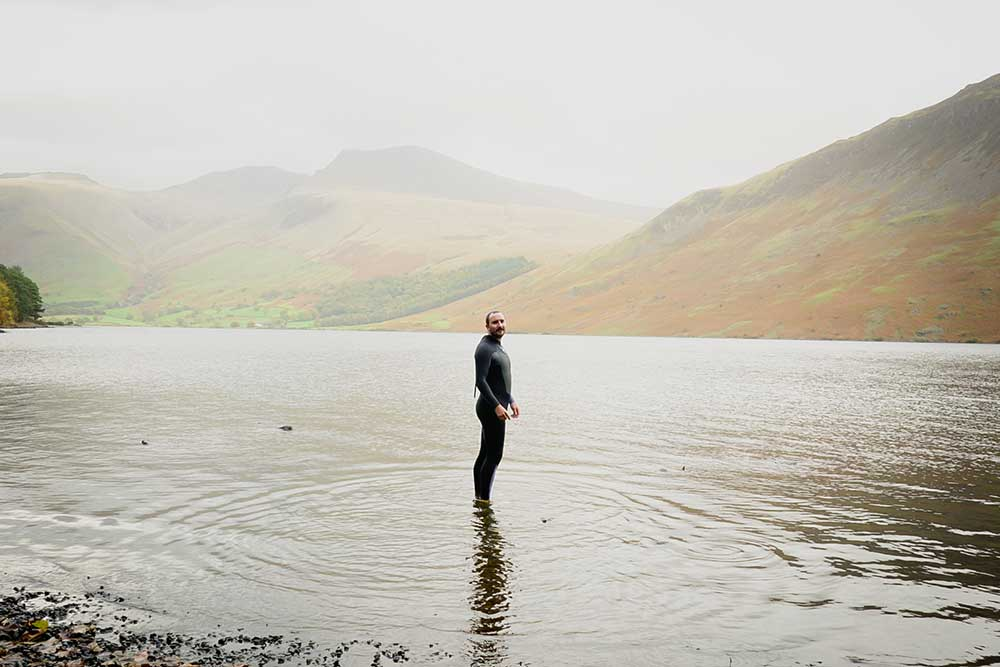 Alex Lester about to begin his seven mile swim across Ullswater