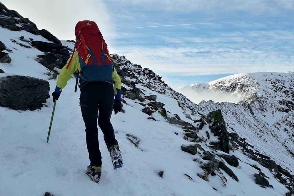 Ascending the fells in winter