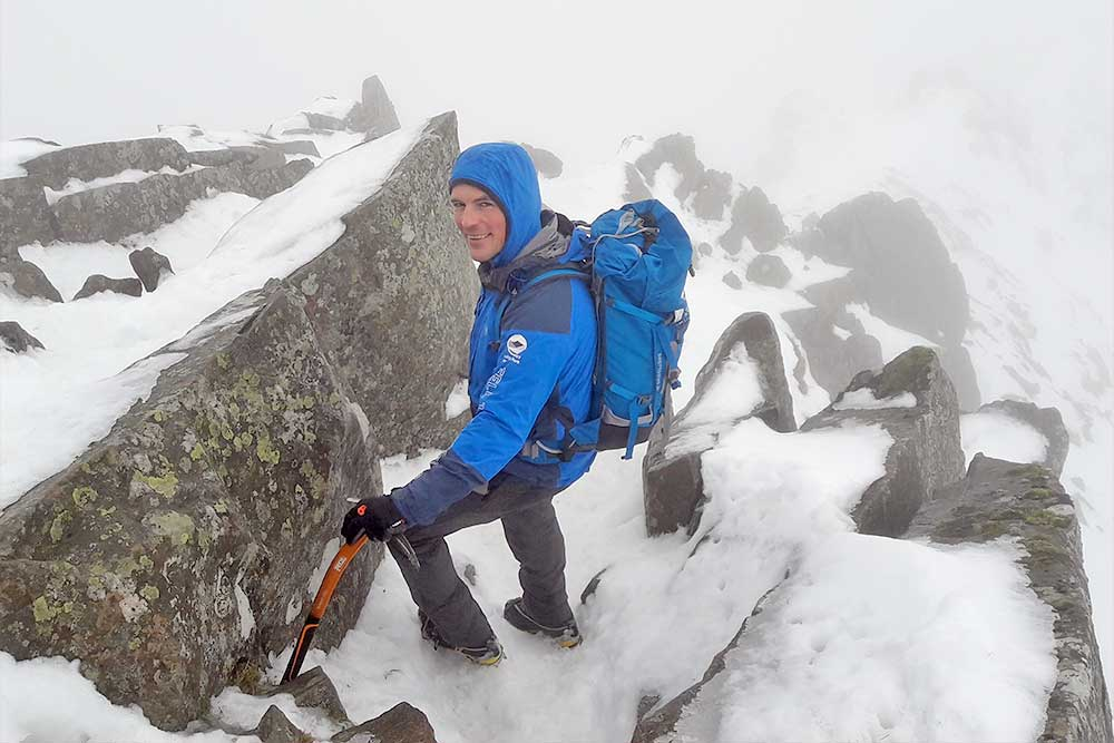 Zac Poulton on Helvellyn in the snow