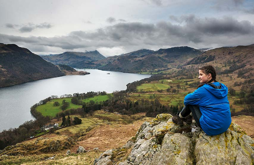 Walking to Gowbarrow Fell overlooking Ullswater