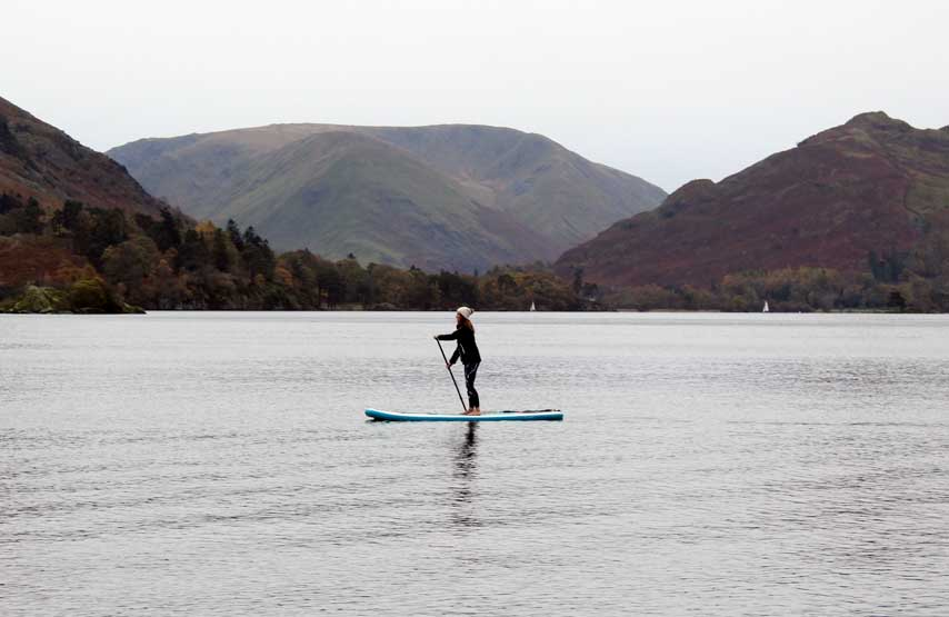 Exploring Ullswater on a SUP board in winter