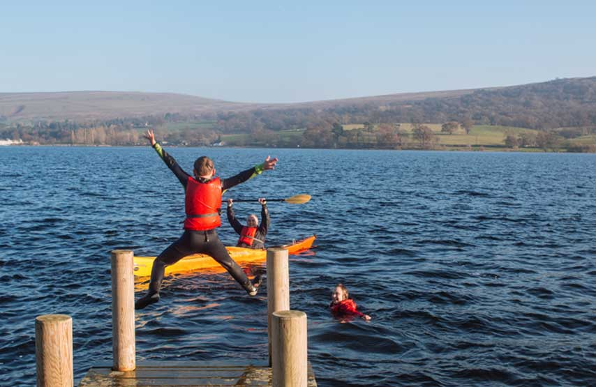 jumping into ullswater