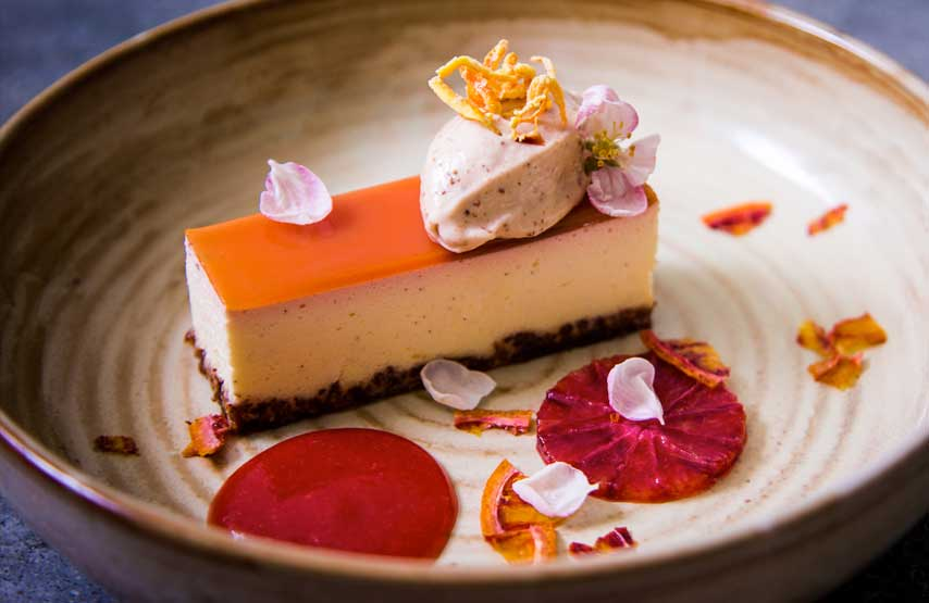 Mascarpone cheesecake, blood orange and carrot cake