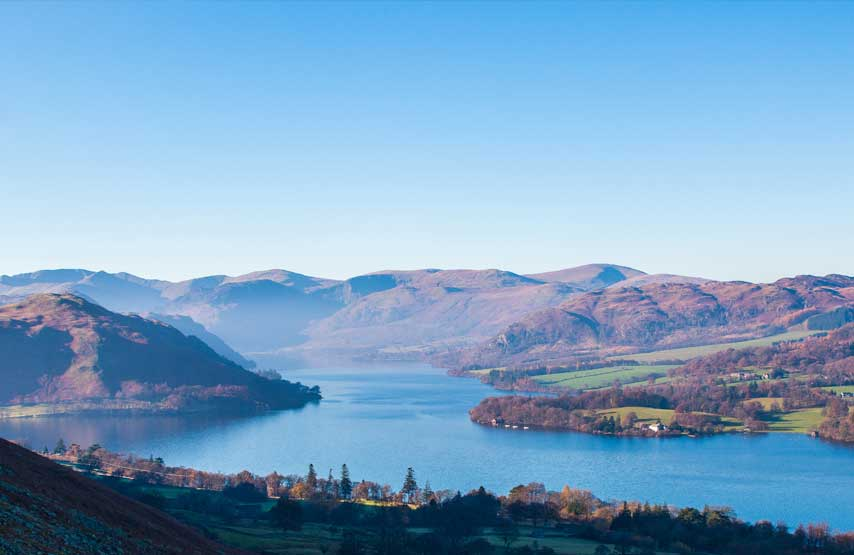 View of Ullswater in winter