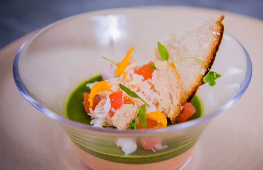 Crab and grapefruit, watercress mousse and crisp sourdough
