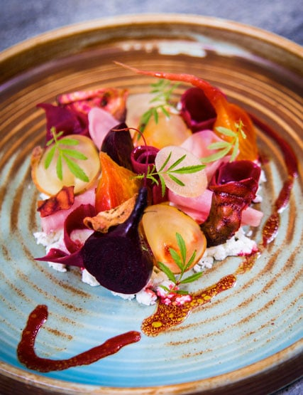 Heritage beetroots with goats curd