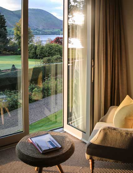 Hotel bedroom with views over Ullswater
