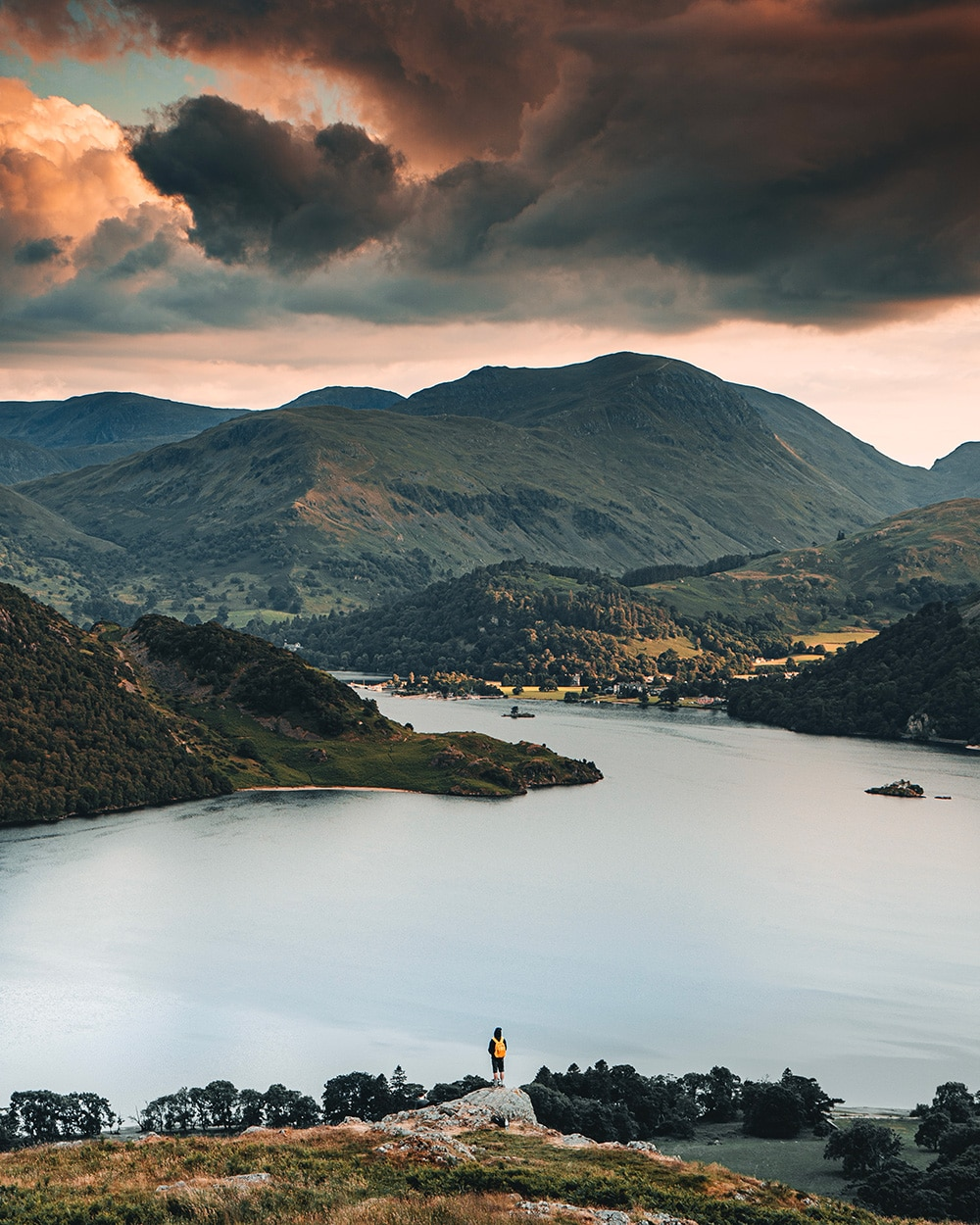 Overlooking Ullswater the lake and mountains in the lake district by Ryan Lomas