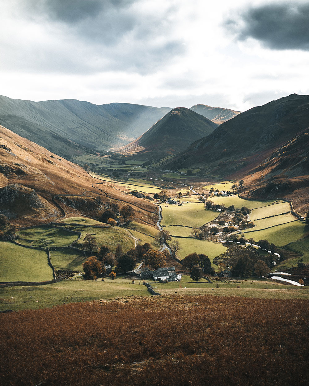 The rolling hills of the Lake District around Ullswater