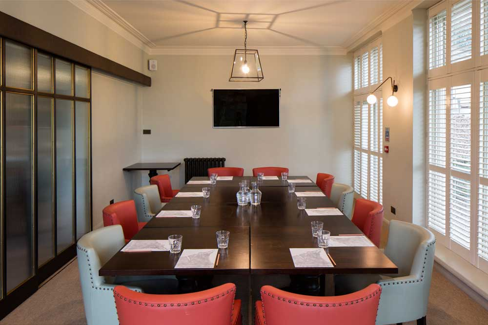 Corporate meetings in the pvate dining room at Another Place, The Lake in the Lake District.