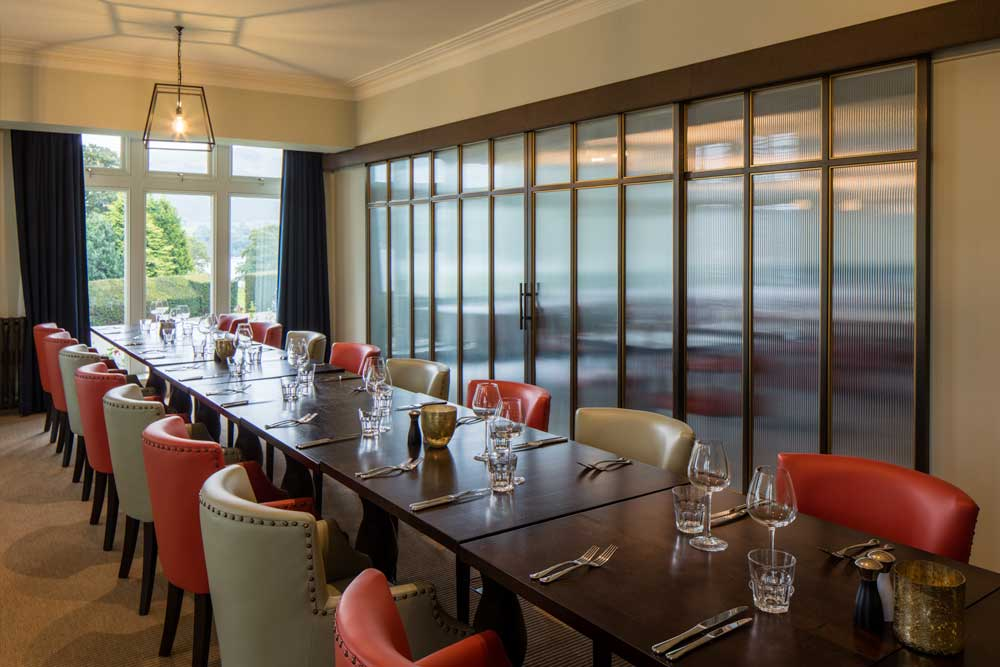 The private dining room at Another Place, The Lake in the Lake District.
