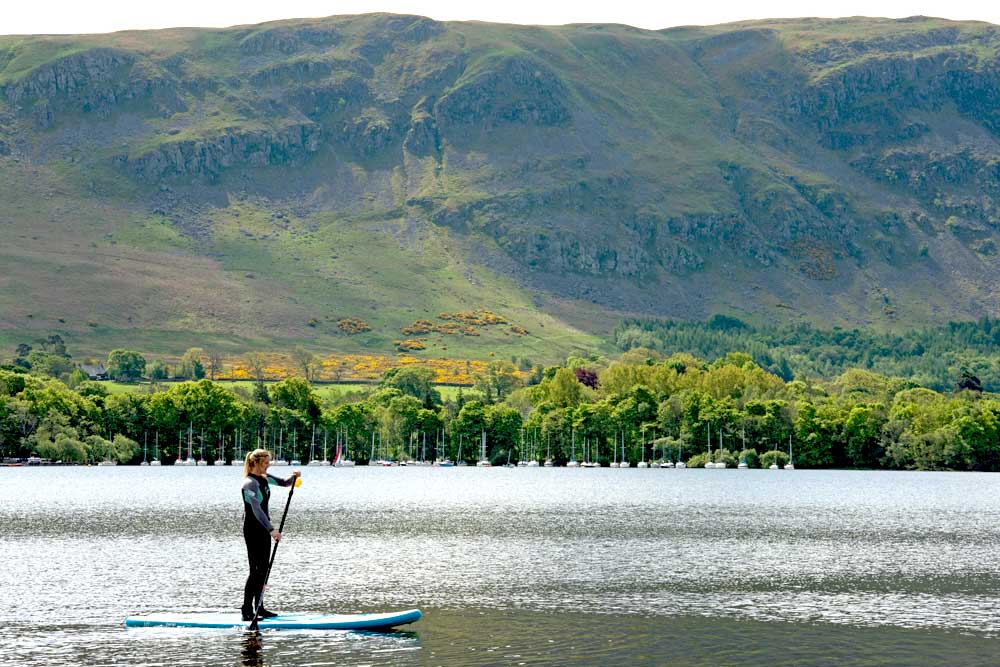 Stand up paddle boarding on Ullswater