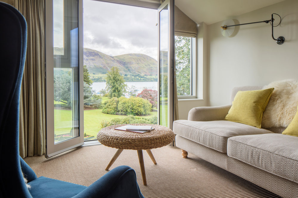 Suite hotel bedroom at Another Place, The Lake in Ullswater the Lake District