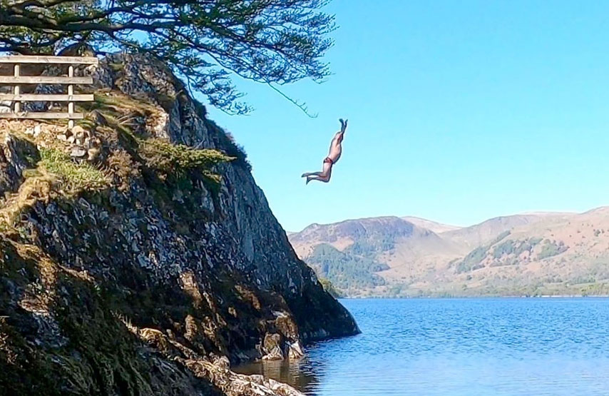 Wild swimming at Kailpot, Ullswater