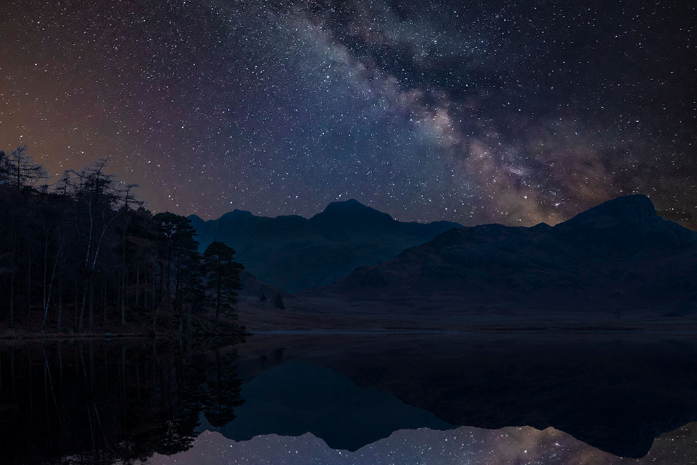 Stars reflected in the waters of the Lake District