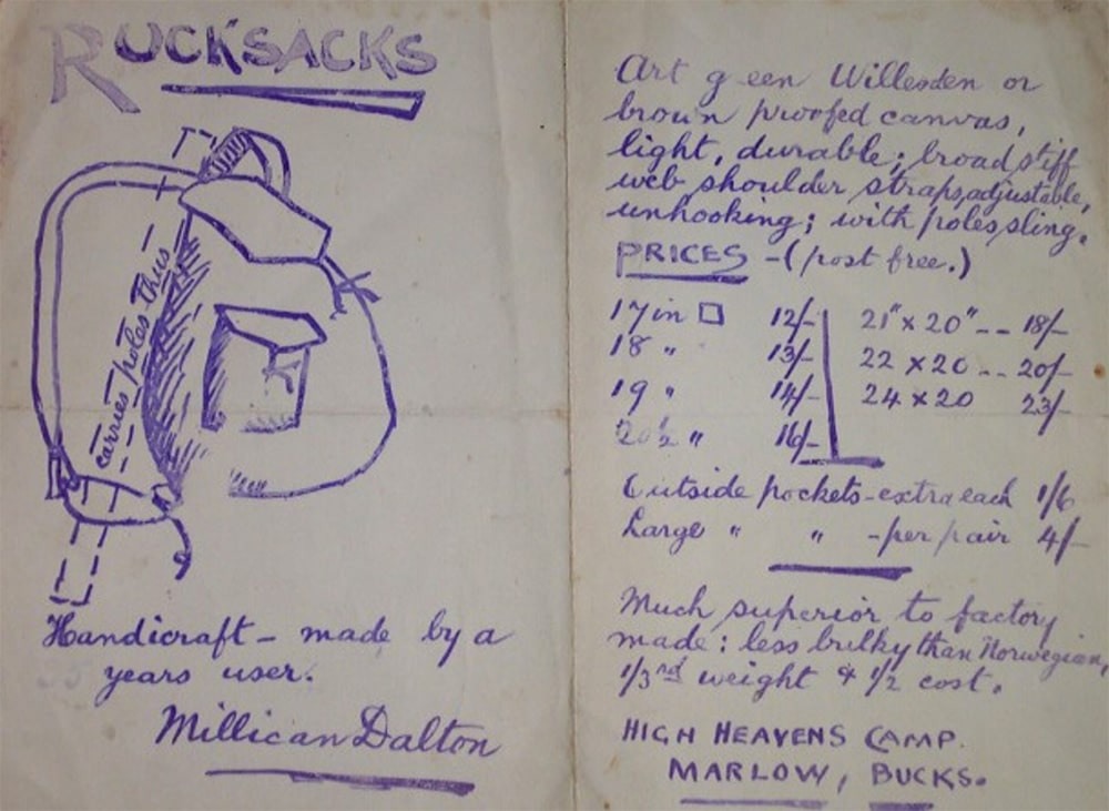 Millican Dalton's design sketches for a rucksack