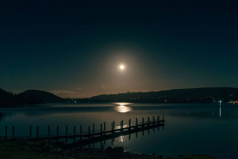 Full moon over Ullswater and the hotel jetty