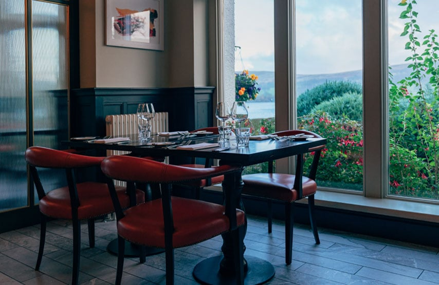 Rampsbeck Restaurant with views over Ullswater