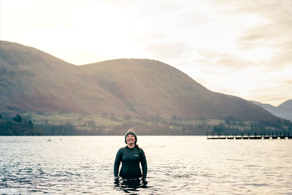 Wild swimming in winter in Ullswater