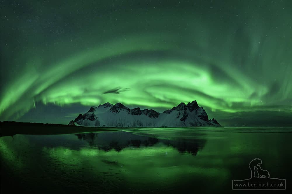 Aurora at Vestrahorn, Iceland by Ben Bush